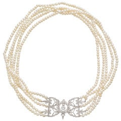 Antique Five-Strand Natural Pearl Necklace with Diamond Clasp