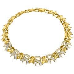 Tiffany & Co. Diamond Gold Bow Link Necklace