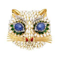 Multicolored Enamel Gem-Set Gold Cat Brooch