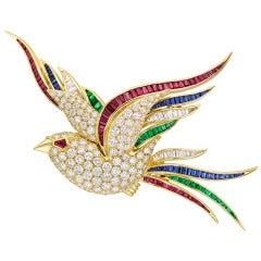 Gem-Set Bird of Paradise Pin