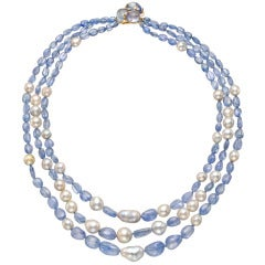 Seaman Schepps Three-Strand Baroque Pearl Sapphire Bead Necklace