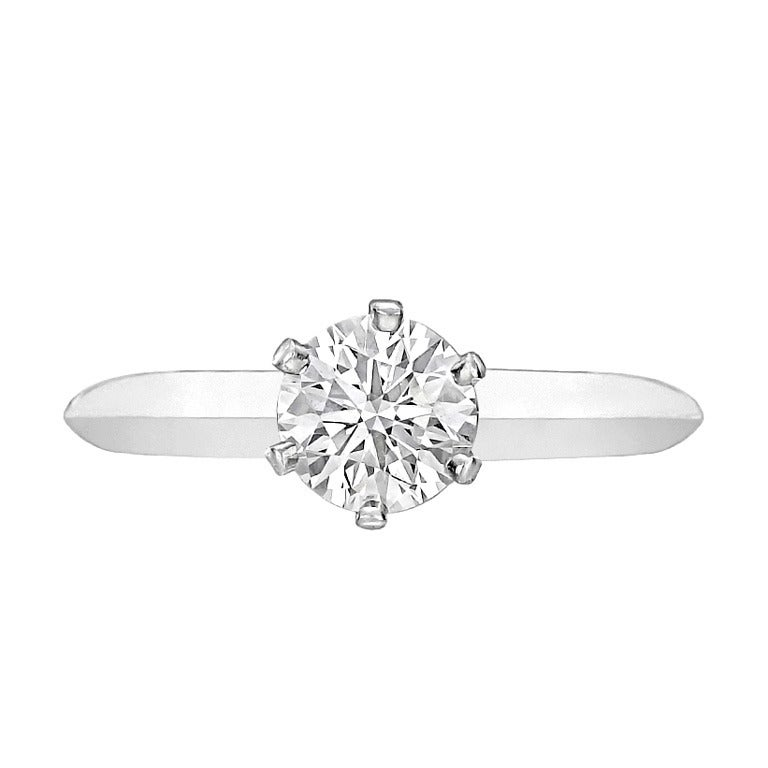 Tiffany and Co Carat Round Brilliant Diamond Ring at 1stdibs