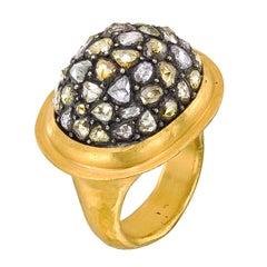 Yossi Harari Diamond Gold Mosaic Dome Ring