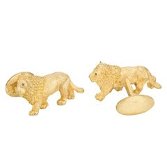 Bielka Gold Lion Cufflinks
