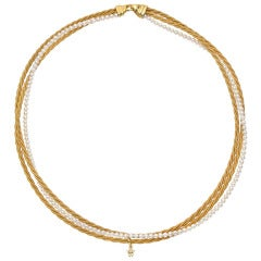 Wellendorff Three Strand Seed Pearl Gold Necklace