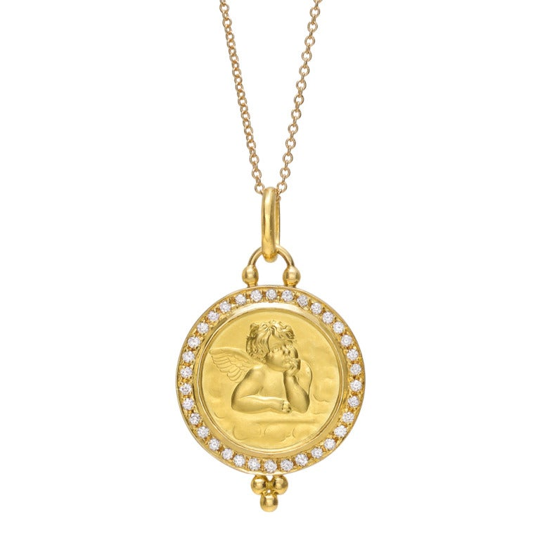 temple st clair gold and cherub pendant at 1stdibs