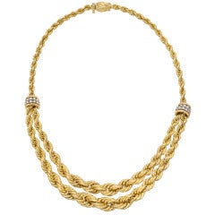 Boucheron Gold Double Rope Link Collar Necklace