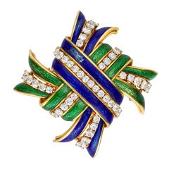 Original 1960s David Webb Enamel  Diamond Knot Brooch
