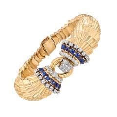 Ghiso Retro Gold Gem-Set Bracelet
