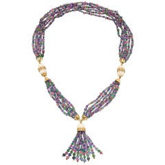 Multicolored Gemstone  Coral Bead Necklace