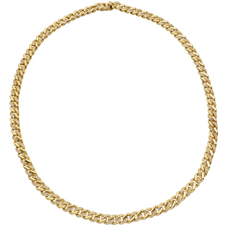Gold & Diamond Curb-Link Long Necklace 1