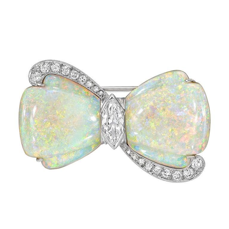 Opal & Diamond Bow Pin 1