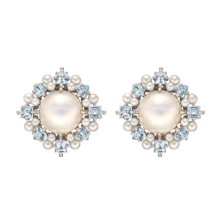 Paul Morelli Pearl Aquamarine Cer Earrings For