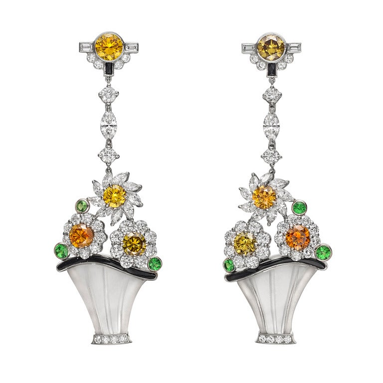 Raymond C. Yard Multicolored Diamond Flower Basket Earrings