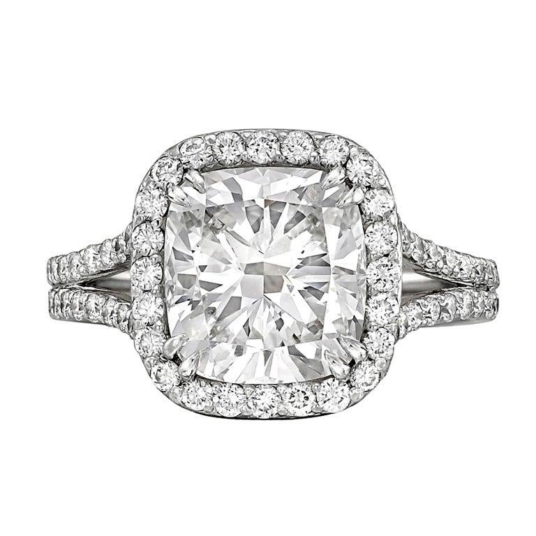 3 01 Carat Cushion Cut Diamond Engagement Ring at 1stdibs