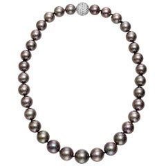 Black Cultured Pearl Necklace with Pave Diamond Clasp