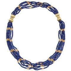 Tiffany & Co. Six Strand Lapis Bead Gold Necklace