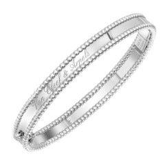 Van Cleef & Arpels White Gold Perlee Bangle Bracelet