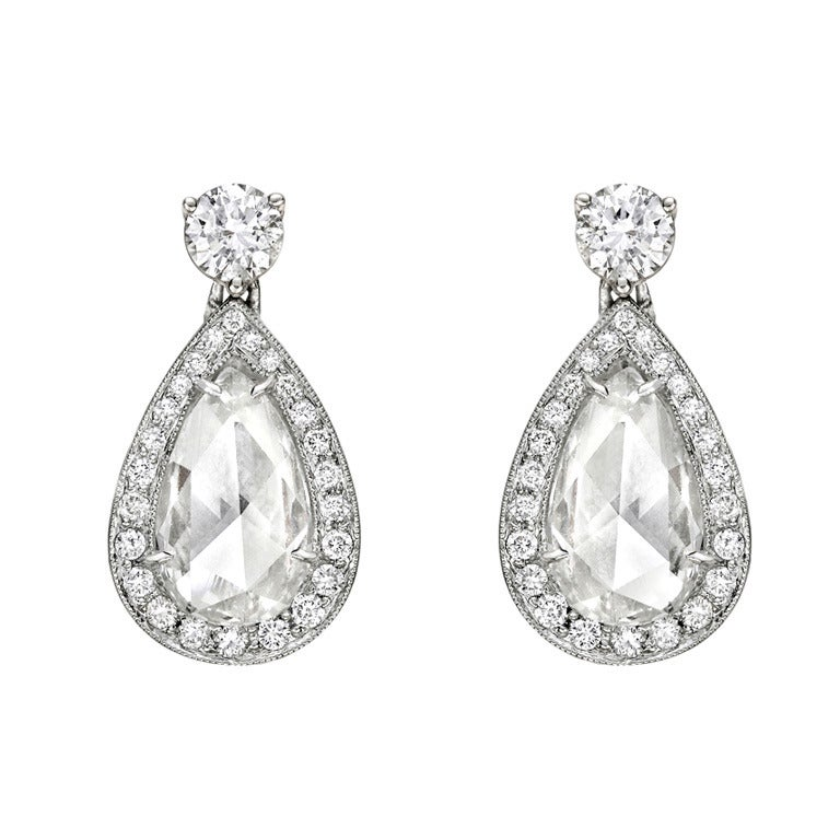Pear Shaped Rose Cut Diamond Drop Earrings For