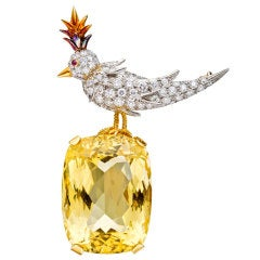 TIFFANY & CO Jean Schlumberger 'Bird on a Rock' Citrine Brooch