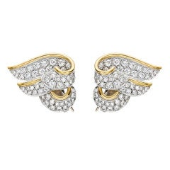 VERDURA Diamond 'Wing' Earclips