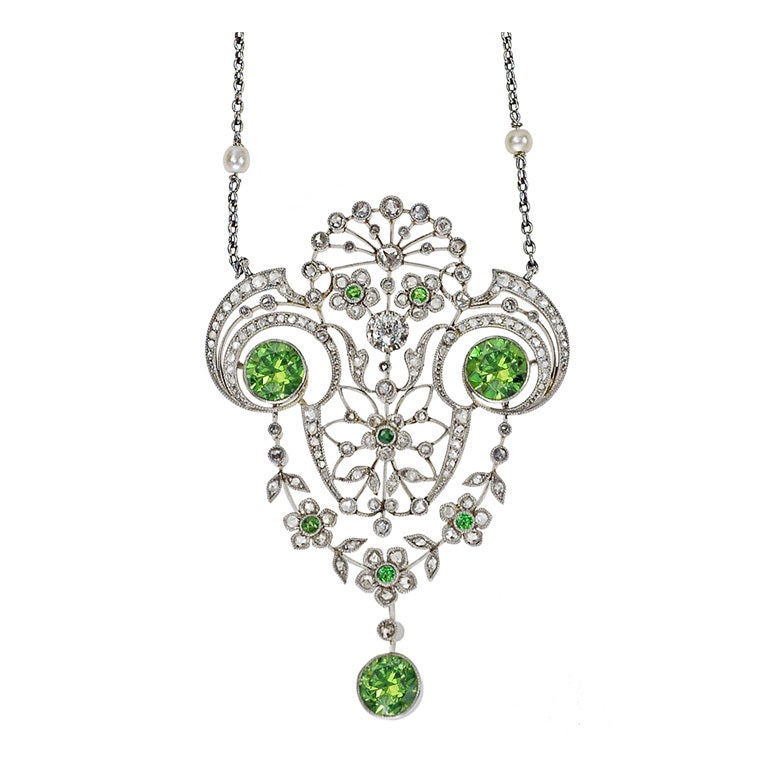 Belle Époque Demantoid Garnet & Diamond Pendant