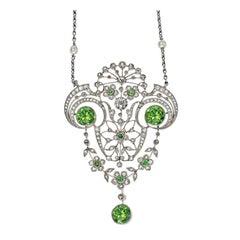 Belle Époque Demantoid Garnet and Diamond Pendant