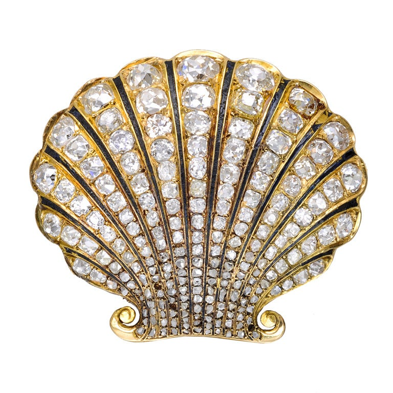 Mid 19th Century Diamond Scallop Shell Brooch At 1stdibs