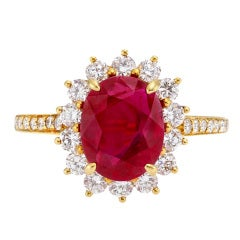 TIFFANY & CO. Ruby Diamond Cluster Ring