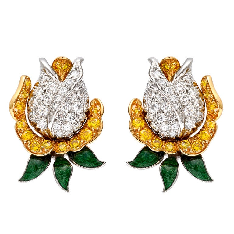 OSCAR HEYMAN Enamel Diamond Rosebud Earclips