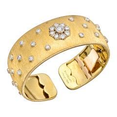 BUCCELLATI Diamond Gold Cuff Bracelet