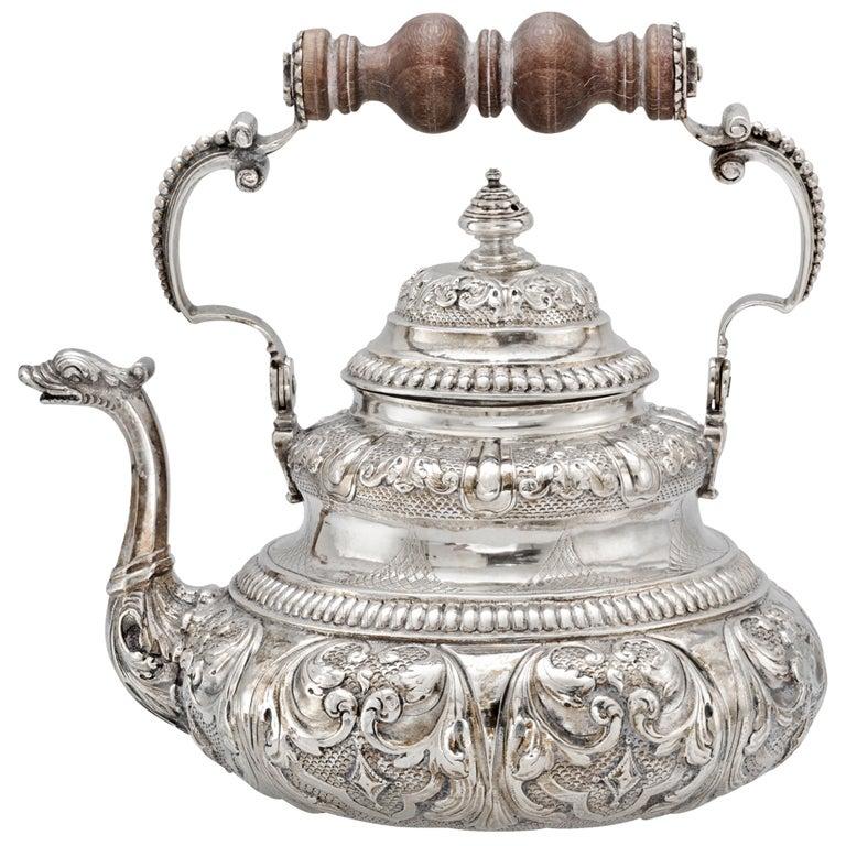 Dutch Silver Tea Pot with Dolphin Spout c1730 1