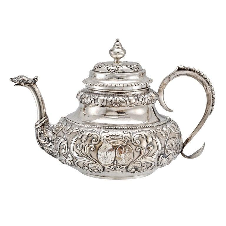 Antique Dutch Silver Tea Pot with Twin Crests 1