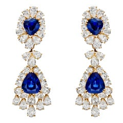 VAN CLEEF & ARPELS Sapphire & Diamond Chandelier Earrings