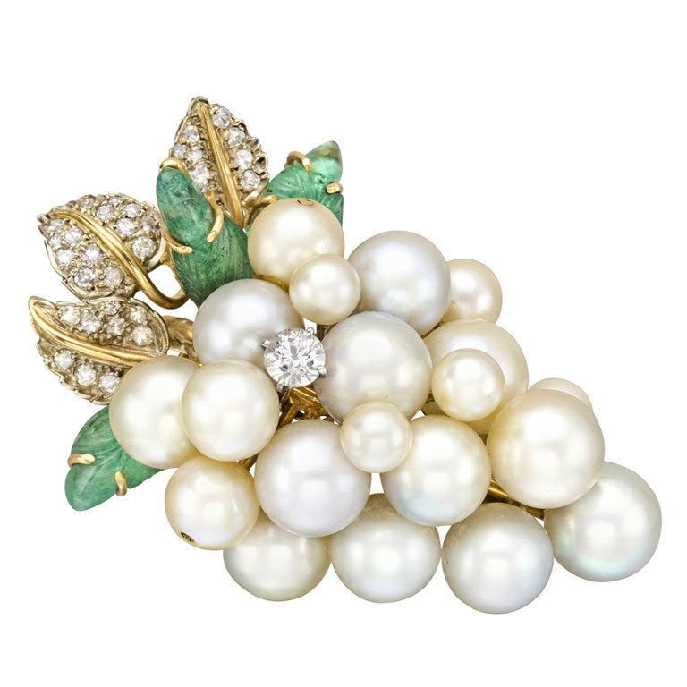 seaman schepps pearl and gem set grape cluster brooch at