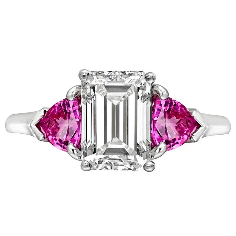 2 05 Carat Emerald Cut Diamond Engagement Ring at 1stdibs