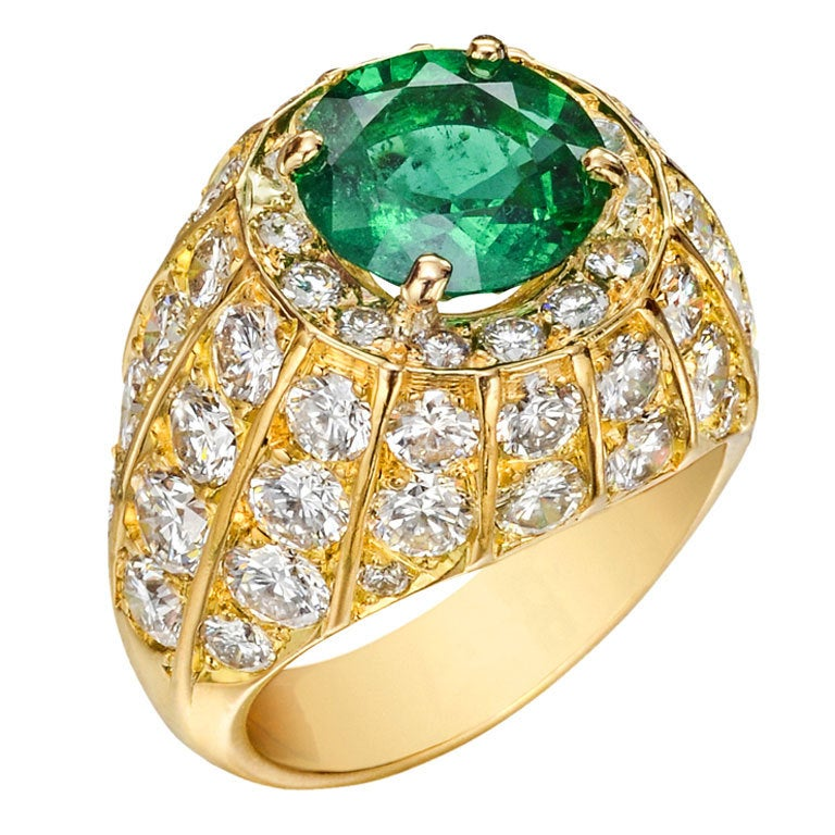 asprey emerald and dress ring at 1stdibs