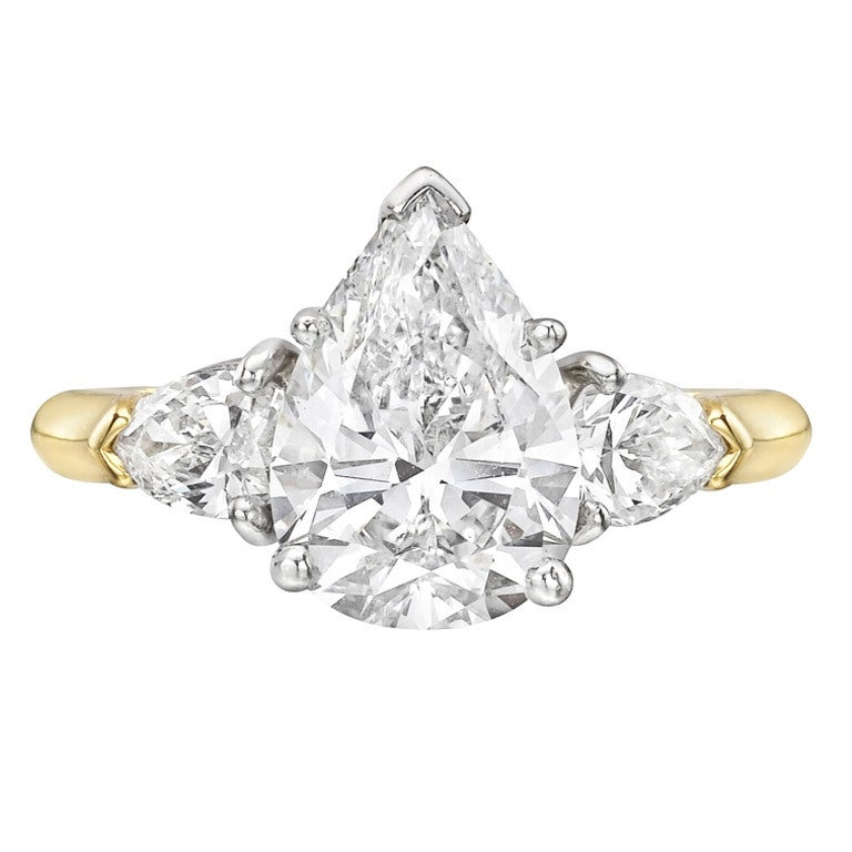 2 14 Carat Pear Shaped Diamond Engagement Ring at 1stdibs