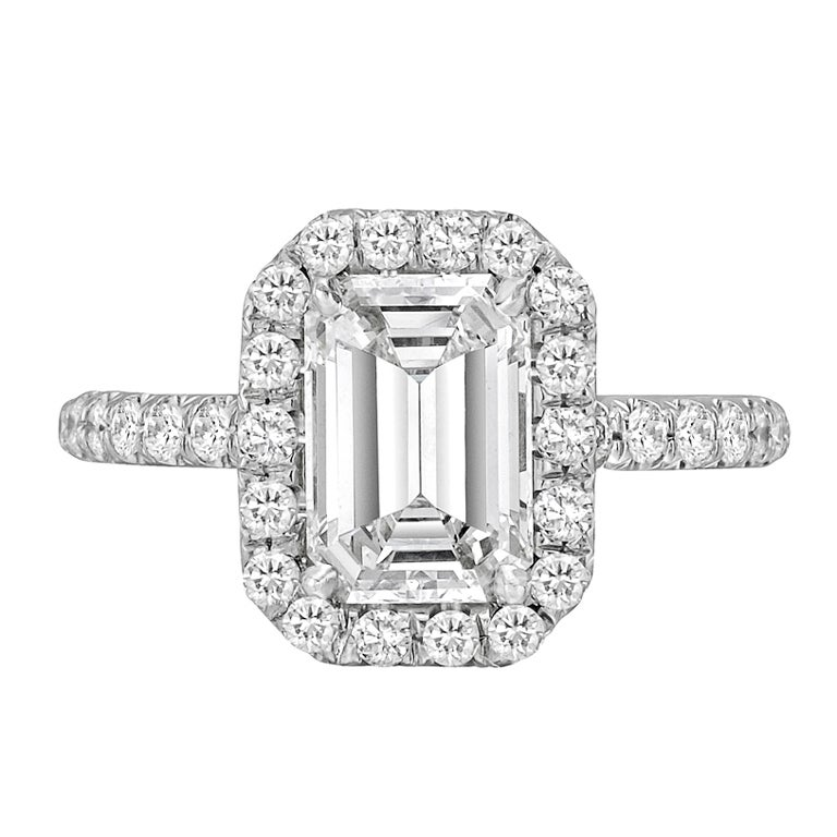 2 01 carat emerald cut engagement ring at 1stdibs
