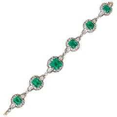 BLACK, STARR & FROST Antique Emerald & Diamond Bracelet