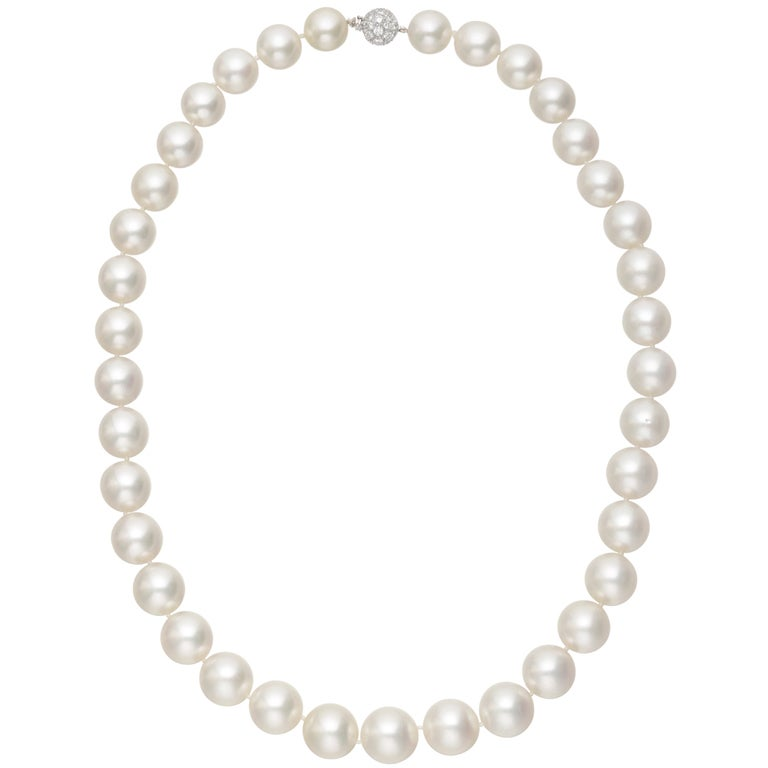 South Sea Pearl Necklace with Diamond Clasp 1