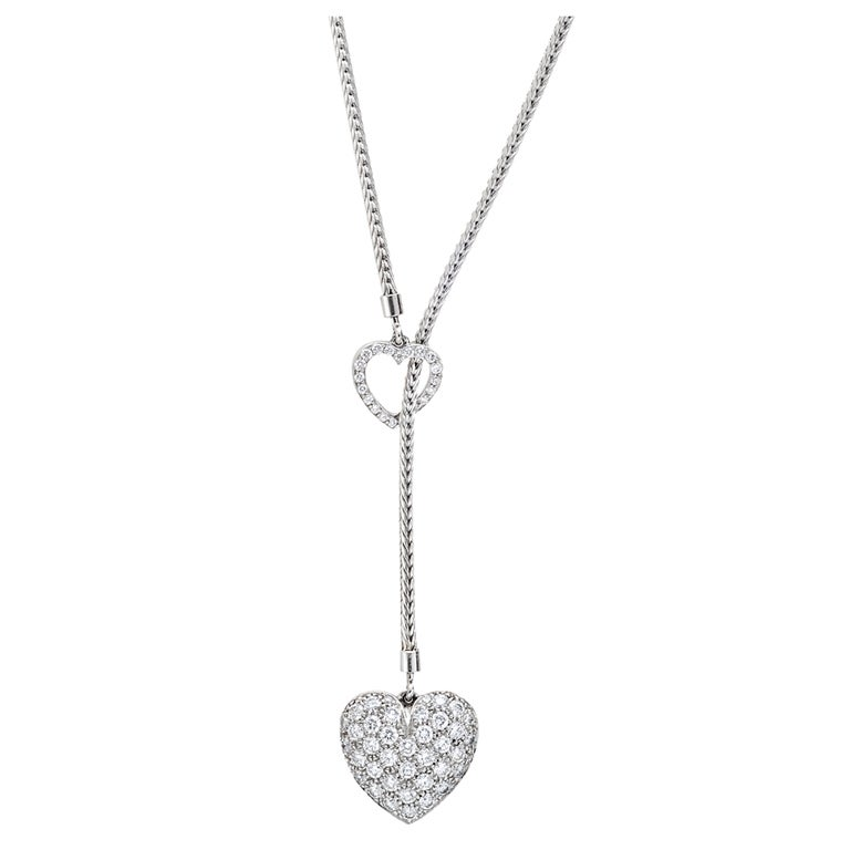 Tiffany And Co Platinum And Pav 233 Diamond Heart Pendant