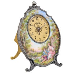 VACHERON & CONSTANTIN Ornate Silver and Enamel 8-Day Table Clock