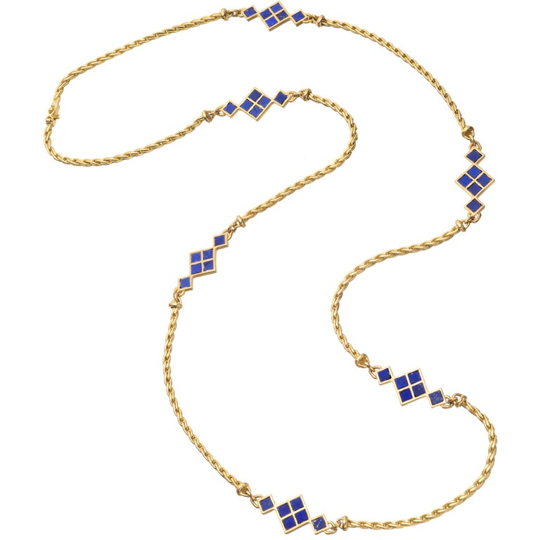 Cartier Gold And Lapis Chain Long Necklace At 1stdibs