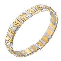 "BULGARI Gold & Steel ""Parentesi"" Bangle Bracelet"