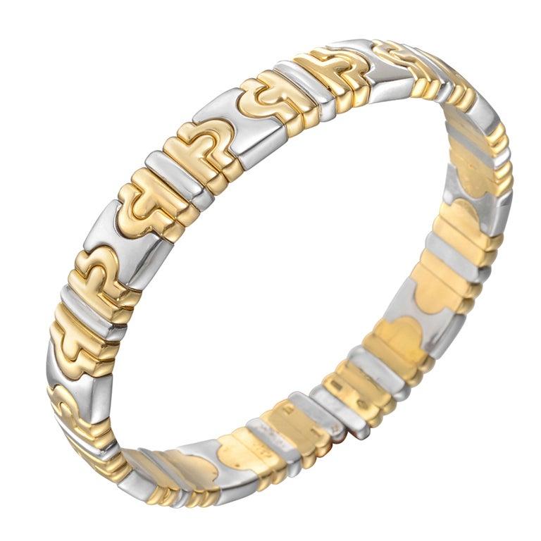 """BULGARI Gold & Steel """"Parentesi"""" Bangle Bracelet"""