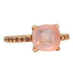 POMELLATO Rose Quartz & Pavé Cognac Diamond Ring