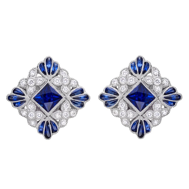 lucie campbell squareshaped sapphire and diamond stud