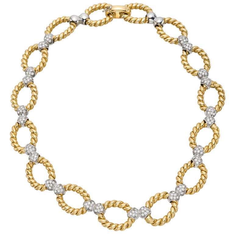 Nicolis Cola Gold Link Necklace With Pav 233 Diamond