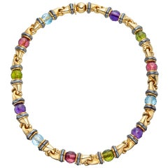 BULGARI Multicolored Gemstone Bead Choker Necklace
